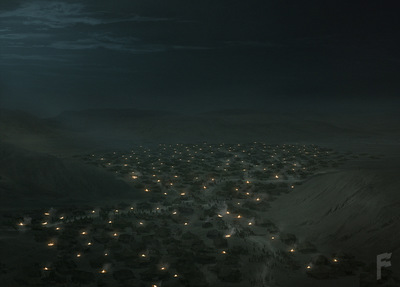 Art by Stefanie Meunier - Soldier camp overview Matte Painting for Spike Tvs Tut