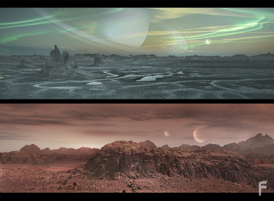 Art by Stefanie Meunier - Alien landscape Matte Paintings for Syfys Ascension
