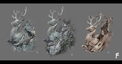 Art by Stefanie M. - Stag tree developpement concepts for Christophe Gans Beauty and the Beast