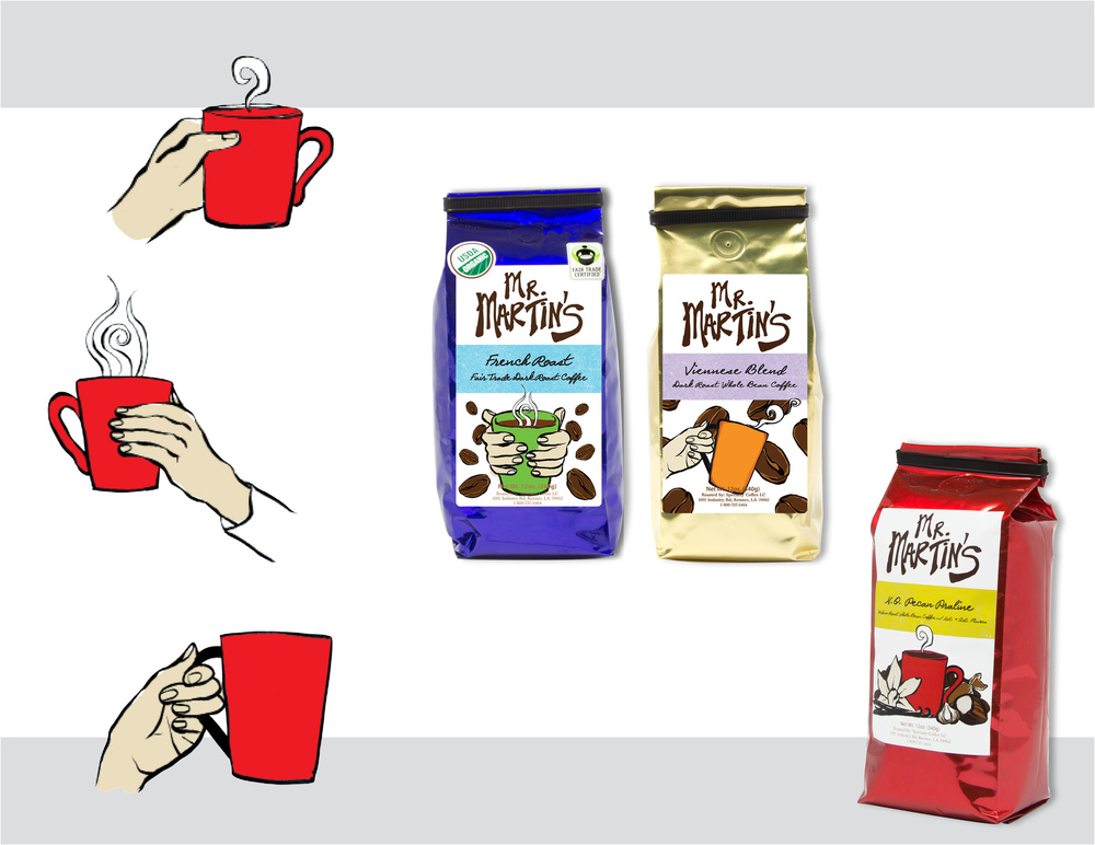 Sara Schoenberger - Branding & Design for Packaging Mr. Martin's Brand Coffee For Martin Wine Cellar, 2012, Illustrations by Sibel Ergener