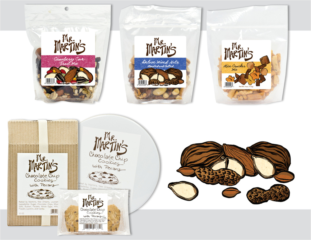 "Sara Schoenberger - Branding & Design for Packaging ""Mr. Martin's"" Gourmet Food Line For Martin Wine Cellar, 2012, Illustrations by Sibel Ergener"