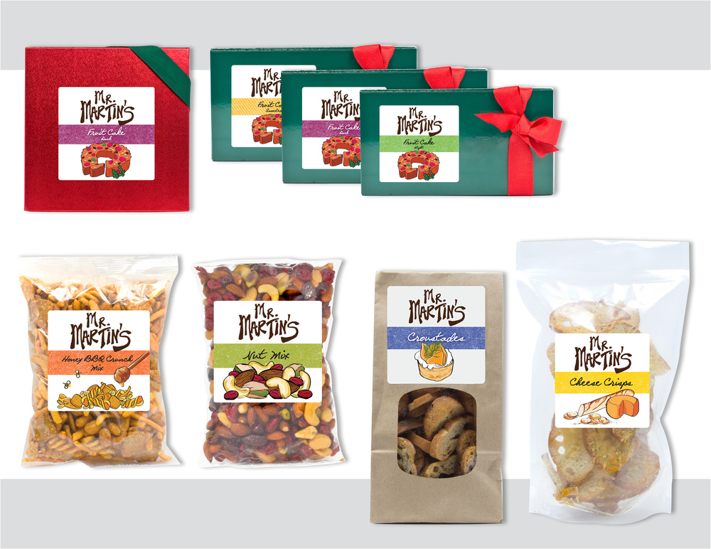 "Sara Schoenberger - Branding & Design for Packaging ""Mr. Martin's"" Brand Snacks and Holiday Fruit Cakes For Martin Wine Cellar, 2012, Illustrations by Sibel Ergener"