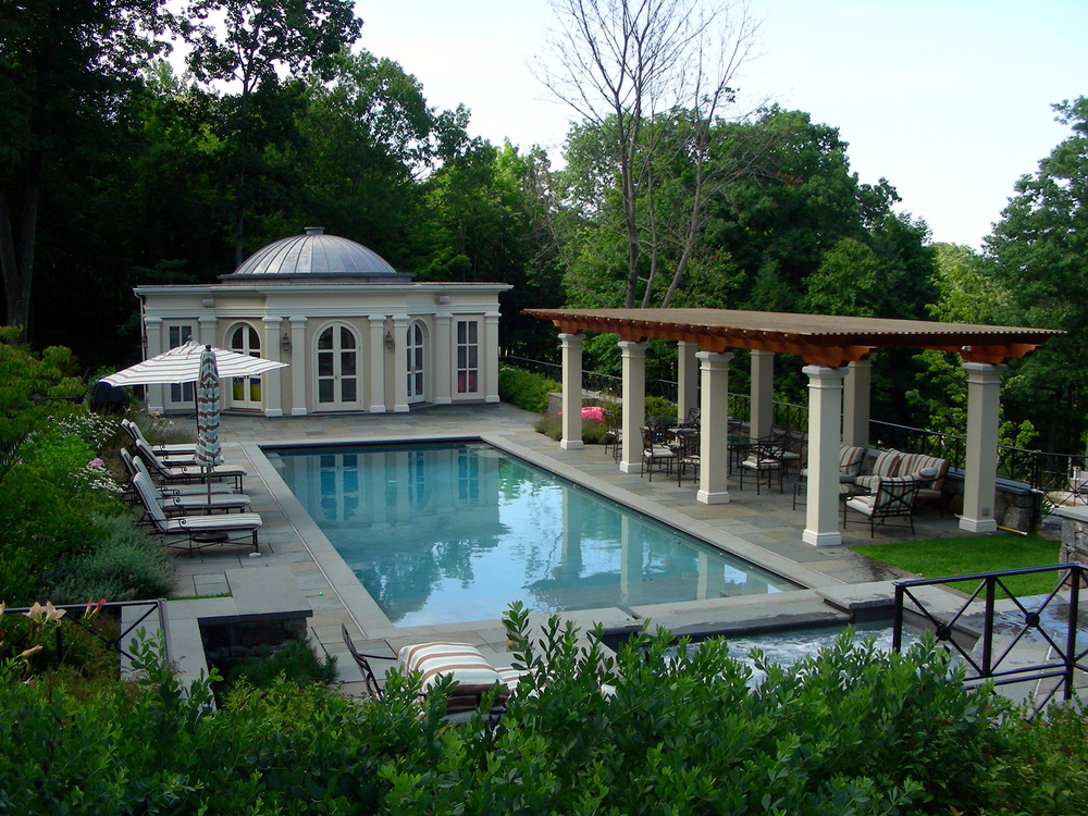 bkla studio - pool complex with pool house and custom pergola