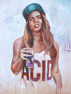 Desiree Kelly Art - Detroit based artist - gIRL dRINK dRUNK (sold)