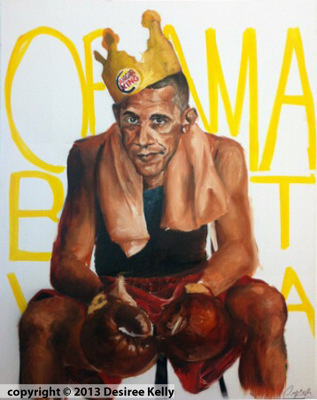 Desiree Kelly Art - Detroit based artist - Obama In boxing gloves