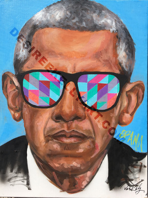 Desiree Kelly Art - Detroit based artist - Obama shades (sold)
