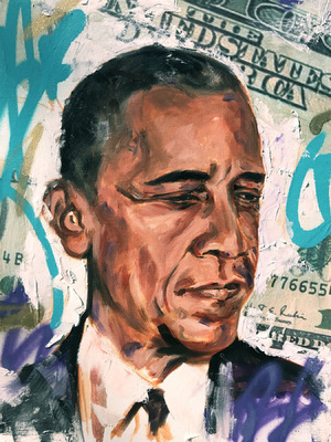 Desiree Kelly Art - Detroit based artist - Obama Money (Limited Edition Prints available)