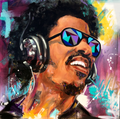 Desiree Kelly Art - Detroit based artist - Stevie Wonder (sold)