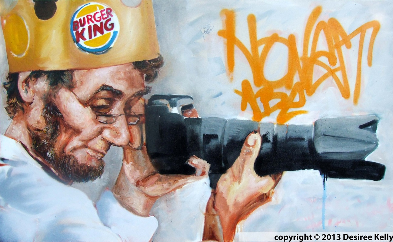Desiree Kelly Art - Detroit based artist - Honest Abe (on display at Kuzzos- Detroit) (AVAILABLE --CONTACT FOR PRICE