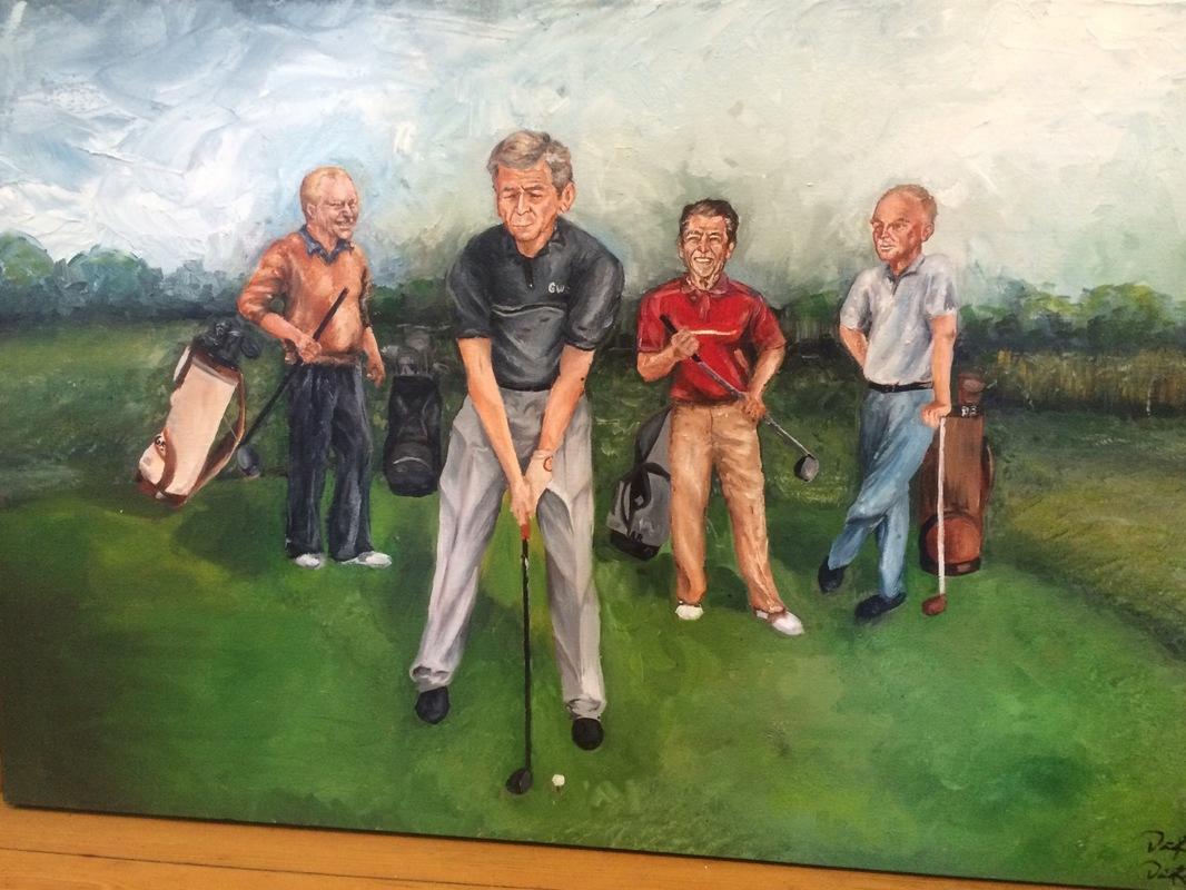 Desiree Kelly Art - Detroit based artist - Republican Presidents Golfing (sold)