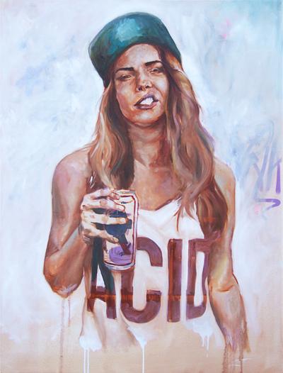Desiree Kelly Art - Detroit based artist - gIRL dRINK dRUNK (sold)