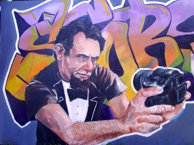 Desiree Kelly Art - Detroit based artist - Abe Selfie (sold)
