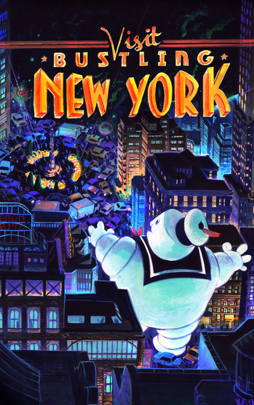 Veronica Fish   Illustration & Design - Visit NYC (Ghostbusters)