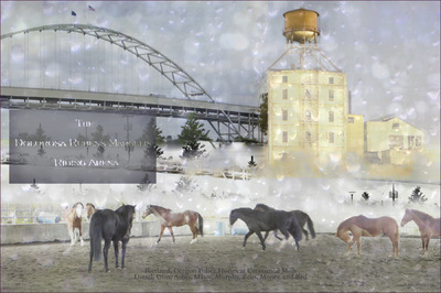 Museum Quality Photographic Art - Police Horses at Centennial Mills 2016 30 x 20 inches (76.20 x 50.80 cm) Comprised of seven photographs taken 2014-2016, this fantasy scenario depicts all members of the herd gathered together.