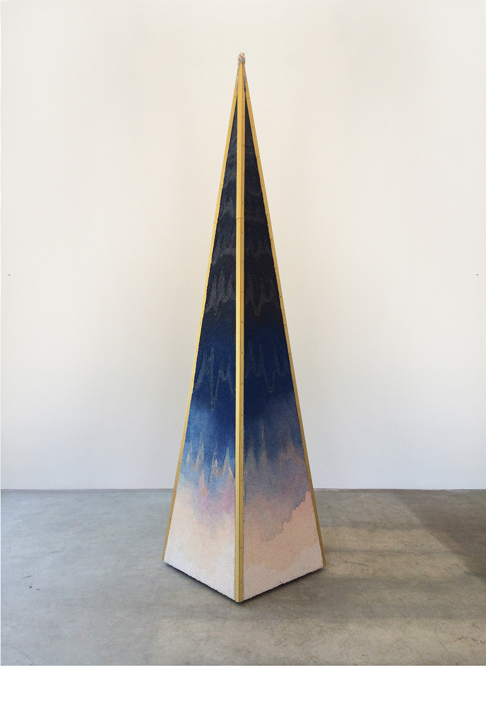 "Matias Cuevas - From the Bottom of Time #5 Carpet, carpet trim, paint thinners, fire, acrylic, and wood. 108"" x 24"" x 24"" (274 cm x 61 cm x 61cm) 2014 © Matias Cuevas"
