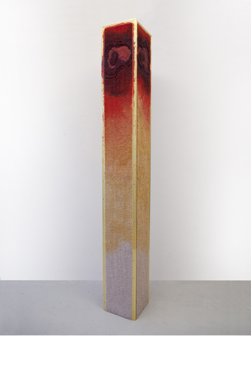 Matias Cuevas - From the Bottom of Time #1 Carpet, carpet trim, paint thinners, fire, acrylic, and wood. 12 x 12 x 96 (31 cm x 31 cm x 244 cm) 2012 - 2013 © Matias Cuevas