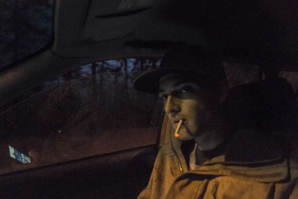 Alexis Aubin - November 1st, 2015. Jean-Félix smoking a cigarette on the road to his friends place.