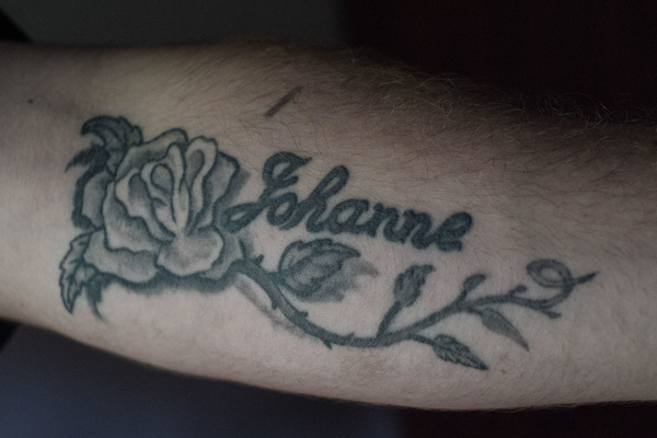 Alexis Aubin - June 5th, 2015. Jean-Felix tattoo in memory of his mother Johanne, who died of breast cancer in 2013.