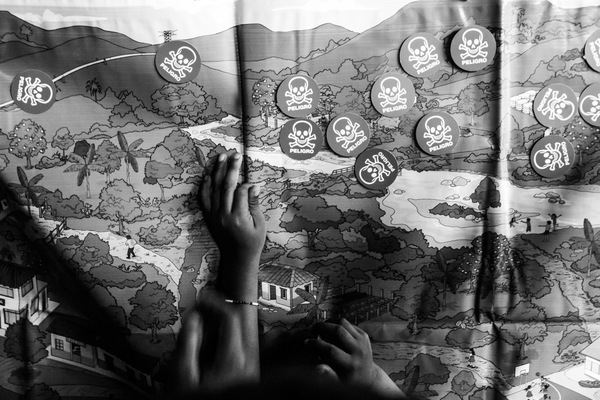 Alexis Aubin - A map used for popular Mine Risk Education. Kids have to put skulls where there is risk of landmine presence. Tierra Alta, Cordoba, Colombia - June 14th 2017
