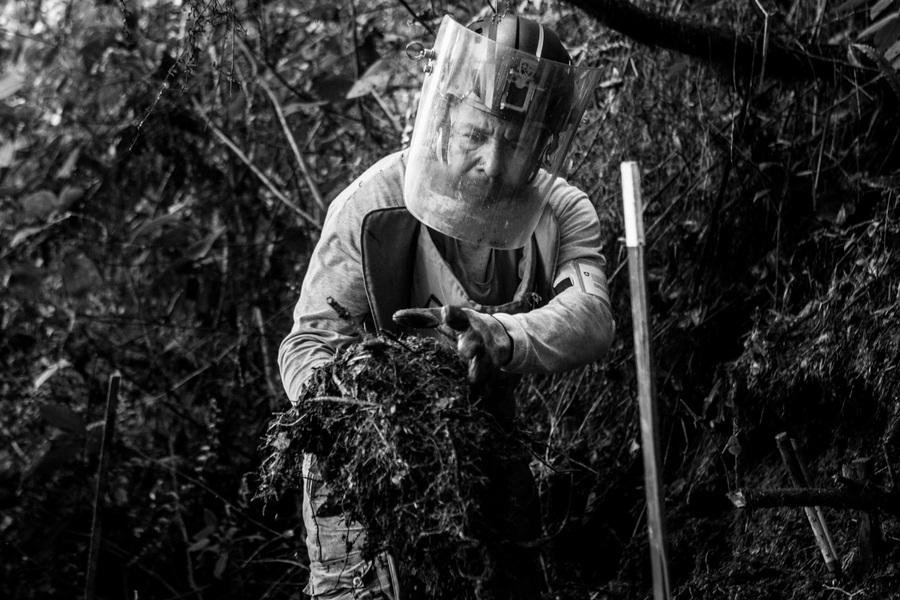 Alexis Aubin - Jaider Tierradentro Mosquero (56) has worked as a deminer for 2 years in Algeciras, the community where he lives. June 5, 2019 - Camp Transilvania, Algeciras, Huila Colombia