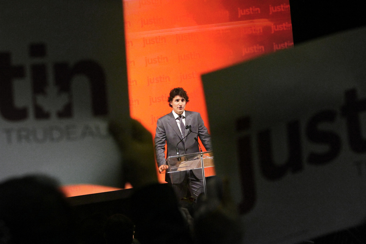 Alexis Aubin - November 1st 2012.Justin Trudeau during his nomination speech as Papineaus MP,