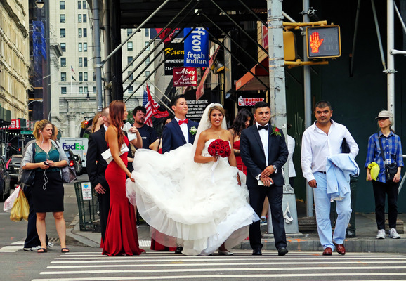 Lori George Photography - Bridal Party makes their way to the church in NYC during rush hour Friday evening.|Friday August 19,2016