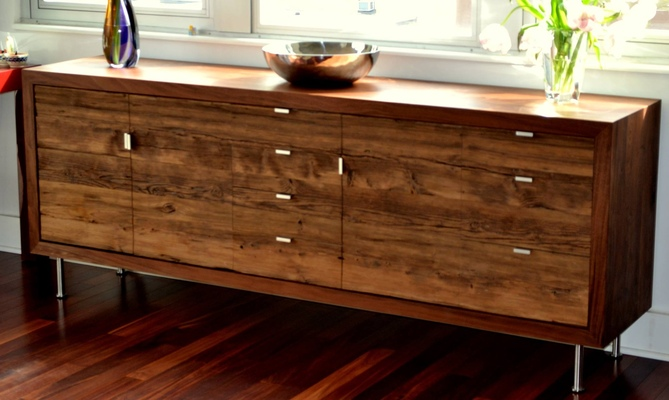 David Wing Design - Walnut chest with brushed stainless steel hardware