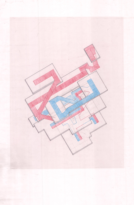 Justin Manley - Axonometric analysis of circulation paths.