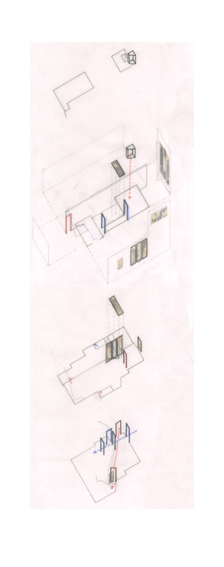 Justin Manley - Exploded axonometric drawing exploring the overlaps between the two dwelling spaces.
