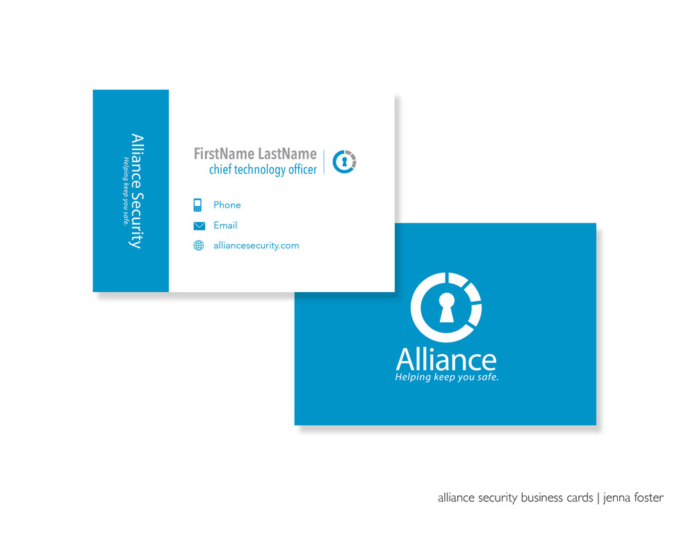 alliance security business cards - jenna foster | graphic designer
