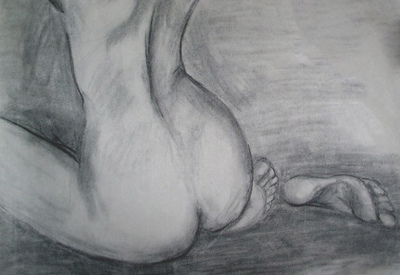 Catherine Marie Ramos - Femme Charcoal on Paper Drawing