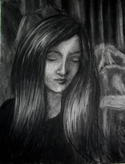 Catherine Marie Ramos - An Imagined Friend Charcoal base Drawn with Eraser