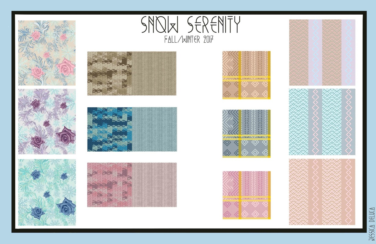 Jessica DeLuca Fashion Designer - Swatch board done in Kaledo Print, Weave & Knit