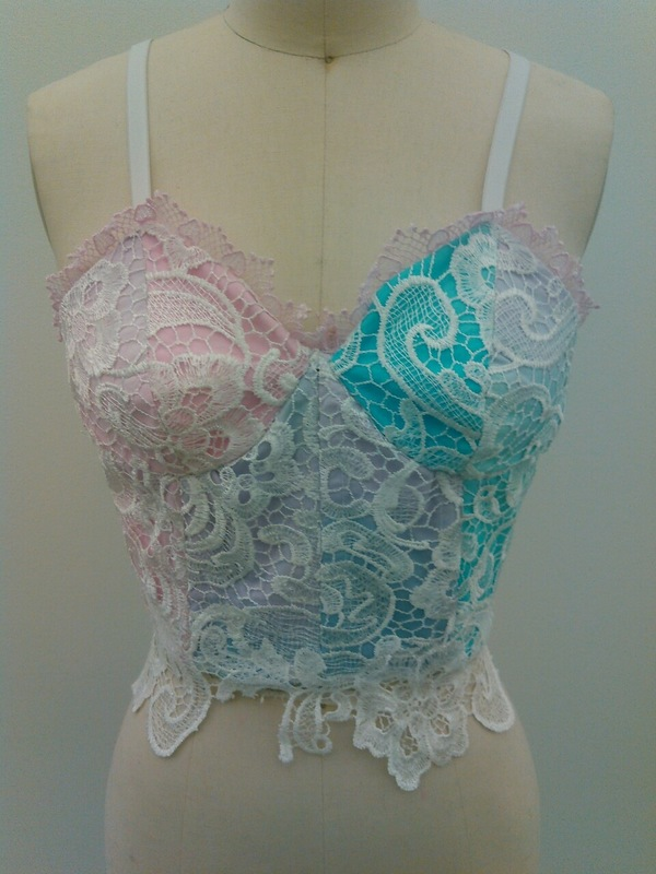 Jessica DeLuca Fashion Designer - Corset, Ombre/tie-dyed pillow ticking with lace overlay