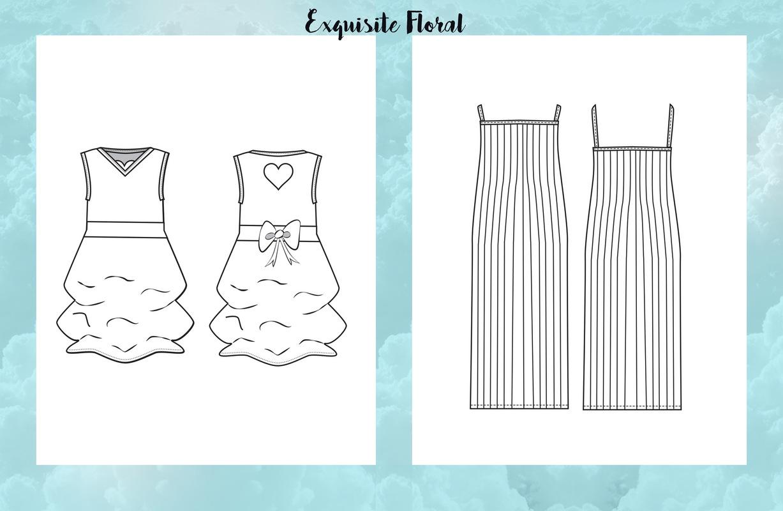 Jessica DeLuca Fashion Designer - Exquisite Floral: flats | Done in Adobe Illustrator