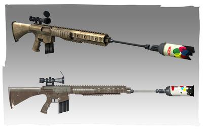 Lauren Cason - Silenced Rifle Concept and Model, Photoshop, Maya