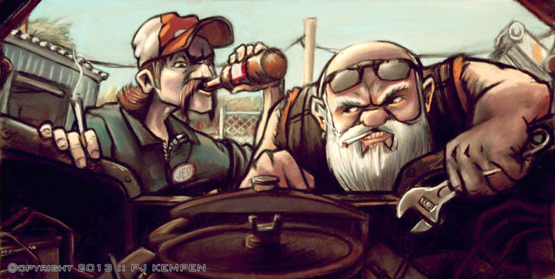 PJ Kempen :: Online Art Gallery - Jed and Mike Fix the Truck