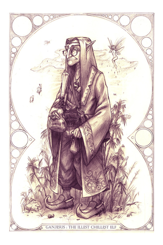 PJ Kempen :: Online Art Gallery - Ganjesus, the Illest Chillest Elf