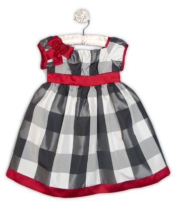 Kimberlee Peers-Moore Designer - Winnie. Plaid taffeta dress with matte satin rosettes at shoulder. Fall 2013