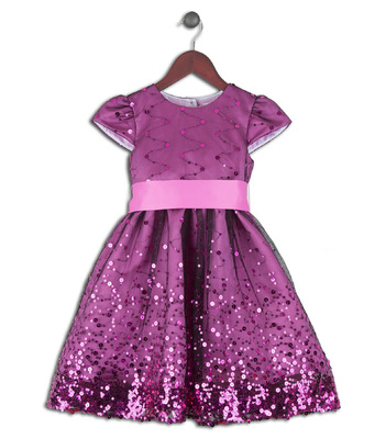 Kimberlee Peers-Moore Designer - Lola, border sequinned dress with sash.