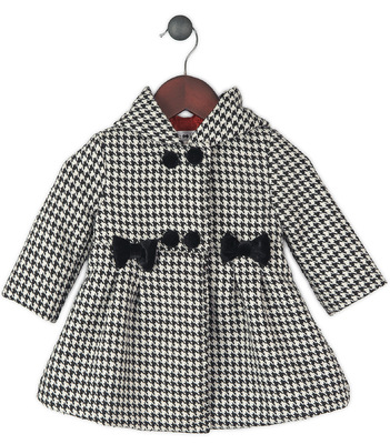 Kimberlee Peers-Moore Designer - Tiffani houndstooth wool coat with red satin lining and black velour bows. Fall 2014,15,16,17