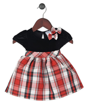 Kimberlee Peers-Moore Designer - Hazel, taffeta tartan dress with black velour bodice, fall 2014