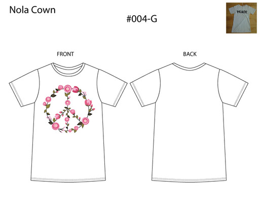 Kimberlee Peers-Moore Designer - Technical drawing of white t-shirt. A graphic rendering of peace sign made up of flowers.