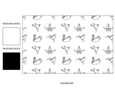 Kimberlee Peers-Moore Designer - Origami Bird Print on pongee fabric