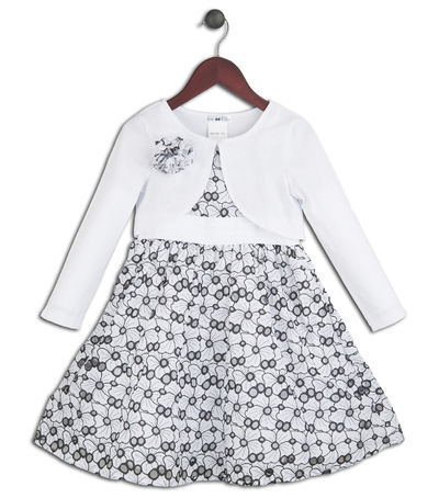 Kimberlee Peers-Moore Designer - Felicia eyelet print dress with white knit bolero