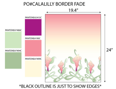 Kimberlee Peers-Moore Designer - Cala lilly border print fabric on matte satin