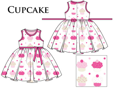 Kimberlee Peers-Moore Designer - Cupckaes with sprinkles, Spring 2018. Pink, turquoise, ivory and white repeat print.