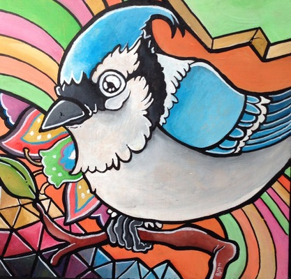Billy Morehouse - Video/Motion Graphics / Audio and Music / Design / Illustration / Art - Blue Jay - acrylic on wood - 2014 - SOLD