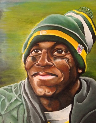 Billy Morehouse - Video/Motion Graphics / Audio and Music / Design / Illustration / Art - Donald Driver - acrylic on wood - 2013 - SOLD