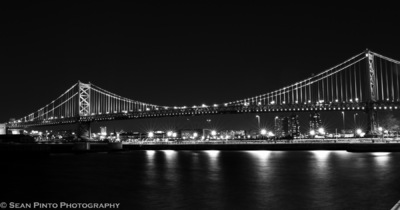 Sean Pinto photoGRAPHY - Ben Franklin Bridge from the Camden Waterfront - in BW